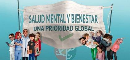 Cartel del Día de la Salud Mental en el que se lee: Salud mental y bienestar, una prioridad global