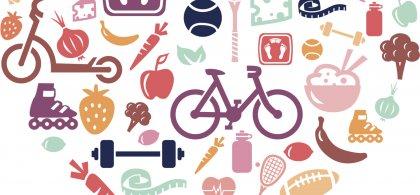 Ilustración de un corazón relleno de símbolos de vida saludable como una bicicleta y fruta