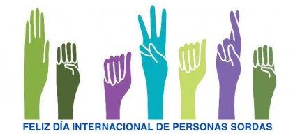 Imagen del Día Internacional de las Personas Sordas con dibujos de manos de colores signando