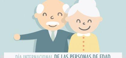 Dibujo de dos personas mayores en el que se lee Día Internacional de las Personas de Edad