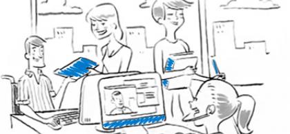 Ilustración de un equipo de trabajo en la que hay personas con discapacidad