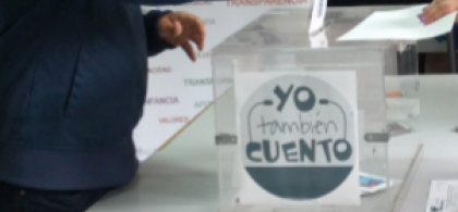 Imagen de una urna con la leyenda 'Yo también cuento'