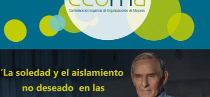 """Imagen de Juan Manuel Martínez sobre un fondo de CEOMA con la leyenda """"La soledad y el aislamiento no deseado en las personas mayores"""""""