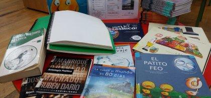 Foto de varios libros entre los que se ven algunos infantiles y uno en braille