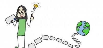 Ilustración en la que se ve a una niña con una carta en una mano y una bombilla encima de la otra. De sus pies parte un camino que conduce hasta una bola del mundo.