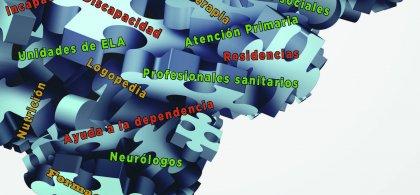 Imagen de un rompecabezas formado por piezas en las que se leen palabras como Dependencia, Trabajadores Sociales o Unidad ELA, entre otras.