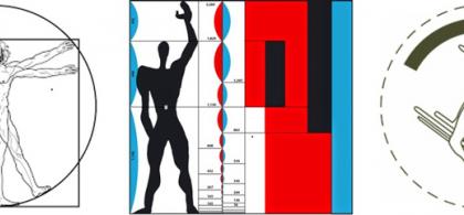 Imagen que recopila tres cánones dimensionales que han aparecido a lo largo de la historia: el hombre de Vitrubio, el MODULOR de Le Corbusier y un esquema de giro de una silla de ruedas.