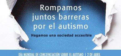 Cartel del Día Mundial del autismo con el texto 'Rompamos juntos barreras por el autismo'