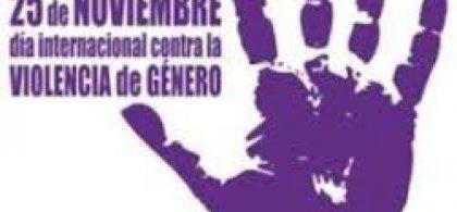 Imagen de una mano morada un poco despintada y a su izquierda este texto: 25 de noviembre. Día Internacional contra la Violencia de Género