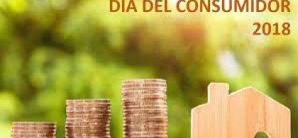 Imagen del Día del Consumidor 2018. Aparece una casita de madera y tres montones de monedas