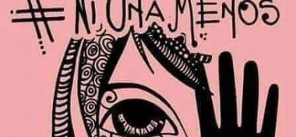 """Ilustración de mujer con el texto """"#Ni una menos"""""""