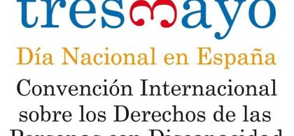 Logo del Día Nacional de la Convención con el siguiente texto: tresdemayo. Día Nacional en España. Convención Internacional sobre los Derechos de las Personas con Discapacidad