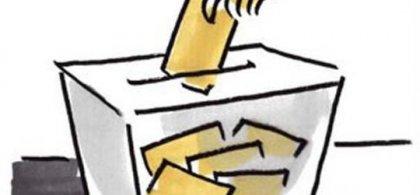 Ilustración de una mano metiendo un sobre en una urna